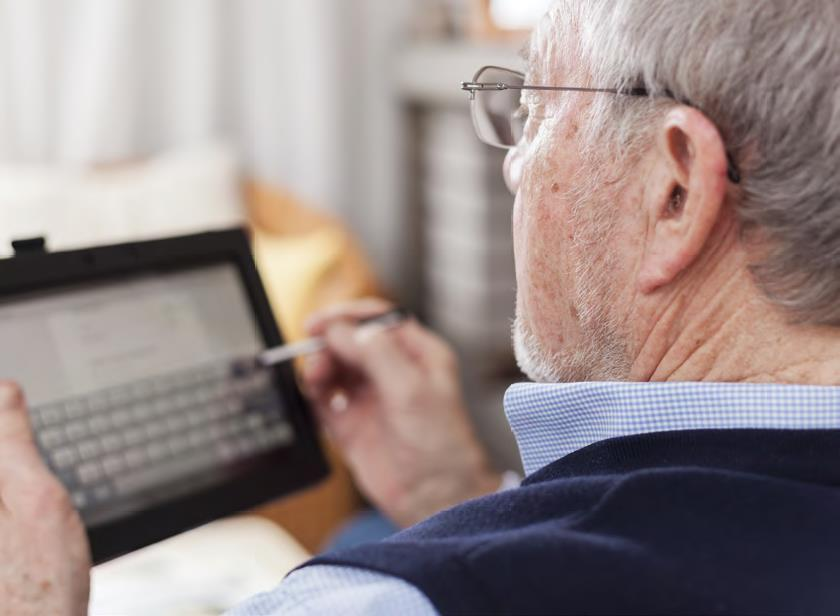 Older person using ICT products